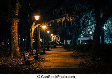 Benches and trees with Spanish moss along a walkway at night, at Forsyth Park, in Savannah, Georgia.