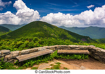 Benches and view of the Appalachians from Craggy Pinnacle, near