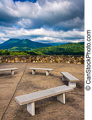 Benches and views of the Appalachian Mountains from Bald Mountai