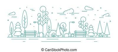 benches., art, arbres, rue, monochrome, buissons, style., ville, jardin, secteur, récréatif, créatif, lumières, gabarit, urbain, moderne, coloré, parc, zone., illustration, ligne, bannière, vecteur, ou