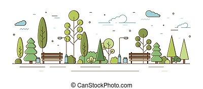 benches., arte, modernos, rua, arbustos, jardim, cidade, estilo, área, recreacional, luzes, localização, planning., público, urbano, árvores, municipal, coloridos, parque, zone., ilustração, linha, vetorial, ou