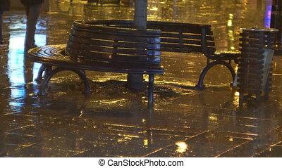 Benches At Rainy Autumn Night