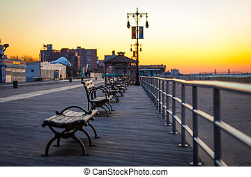 Benches at the pier sunset
