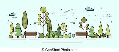 benches., bitófák, utca, bokrok, style., városi, város, közösségi, terület, szórakozási, állati tüdő, lineáris, városi, modern, kert, színes, parkosít., liget, zone., ábra, természetes, vektor, zöld, vagy