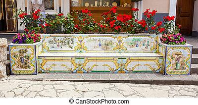 Benches ceramics, Capri, Italy - Bench of ceramic tiles...