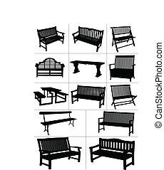 benches., grande, conjunto, jardín, vector