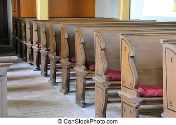 Benches in a church