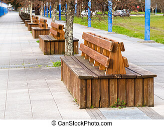 Benches in the boardwalk