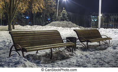 Benches in the park in winter