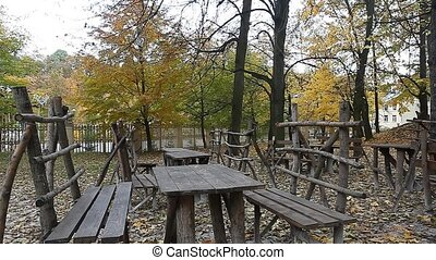 Benches in the park on fall day