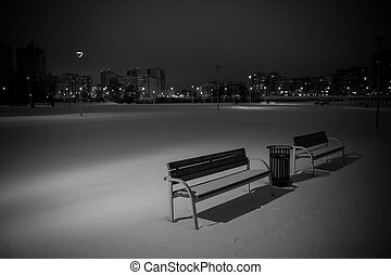 Benches in the winter city.