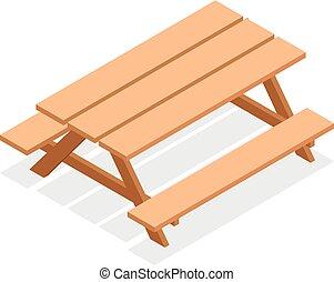 benches., isométrique, extérieur, bois, 3d, vecteur, table, meubles, icône