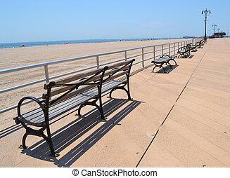 Benches near the shore of ocean