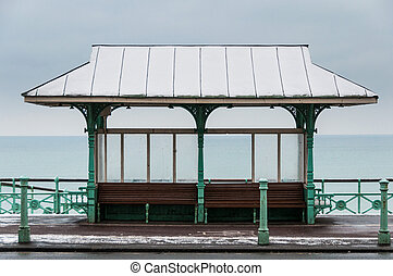 Benches on Brighton sea front in winter