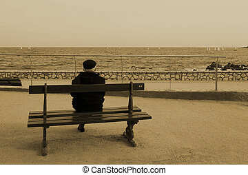 benchman #06 - Man on Bench, next to the sea, Sepia,...
