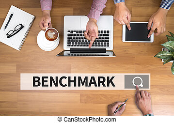 BENCHMARK man touch bar search and Two Businessman working...