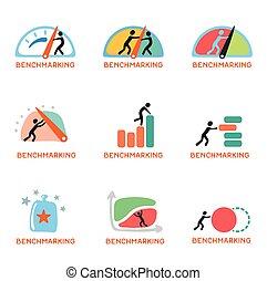 benchmarking, セット, アイコン, ベクトル, 概念, ロゴ