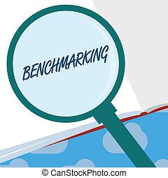 benchmarking., 概念, テキスト, 作戦, 印, 基準, 提示, 写真, 何か, 比較, 評価しなさい