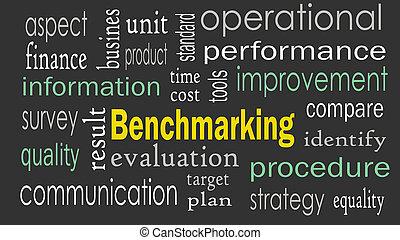 benchmarking, 背景, 単語, 雲, 概念