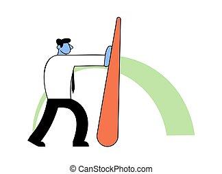 benchmarking, conceito, vetorial, negócio, indicator., empurrar, homem negócios, agulha, illustration.