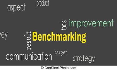 benchmarking, concept, woord, wolk, achtergrond