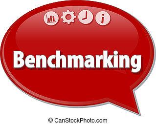 benchmarking, negócio, termo, borbulho fala, ilustração