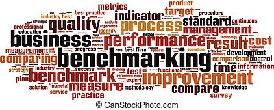 Benchmarking word cloud concept. Vector illustration