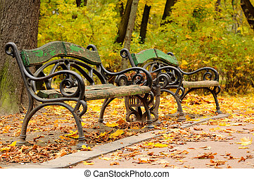 Benchs at the beginning of autumn. - Benchs at the beginning...