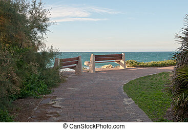 Benchs on beach front . - Wooden benchs beautiful view on...