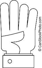 Bend finger icon, outline style.