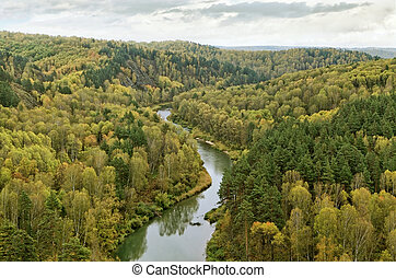 Bend of the river in autumn
