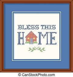 bendecir, esto, marco, bordado, hogar