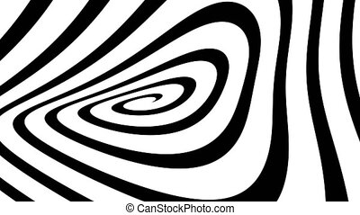 """Bended Black and white  Hypnosis Spiral, concept for hypnosis, unconscious, chaos, extrasensory perception, psychic, stress, strain, optical illusion, headache, migraine. Seamless loop."""
