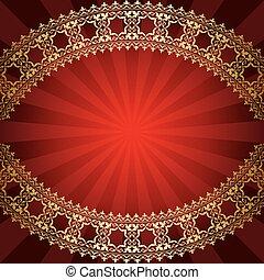 bended, doré, cadre, -, vecteur, fond, rouges