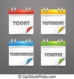 bended, icônes, couleur, coins, papier, agenda