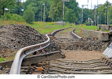 Bended track - Bended flexible rail during the track...