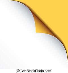 bended, vecteur, jaune, papier, fond, blanc