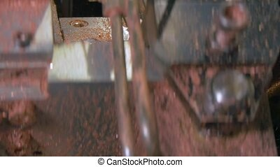 Bending and cutting of metal copper pipes tubes on...