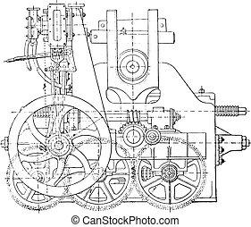 Bending machine, vintage engraving.