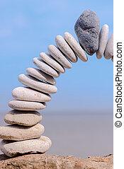 Bending of white pebbles