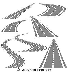 Bending roads vector set, stock vector illustration