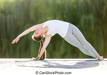 Bending Side Plank - Sporty beautiful young woman practicing...
