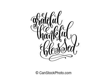 bendito, inscripción, agradecido, mano, thanksgi, letras, ...