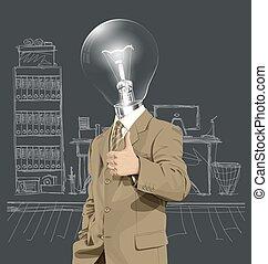 bene, lampada, affari, testa, uomo, mostra, vettore, fatto