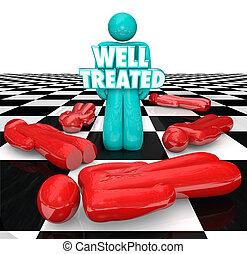 bene, trattato, scacchi, persona, stare piedi, persone, no, trattamento, aiuto