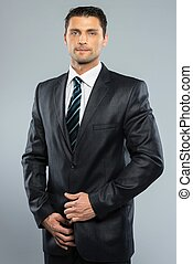 bene-vestito, bello, uomo, in, abito nero, e, cravatta