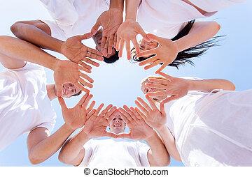 beneden, handen, aanzicht, samen, mensen