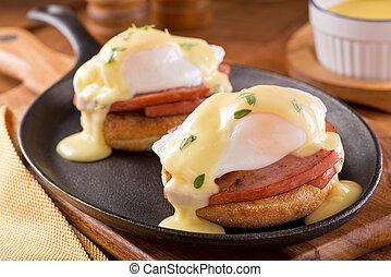 benedict , ηλίθιος , αυγά , κόβω , ζαμπόν