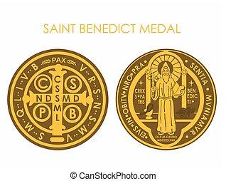 benedict, メダル, 聖者, 金