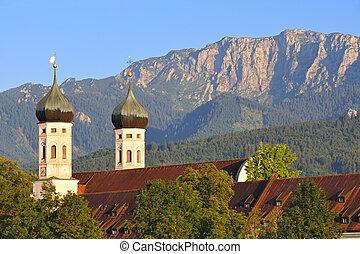 Benediktbeuern /Upper Bavaria in the background the Benediktenwand